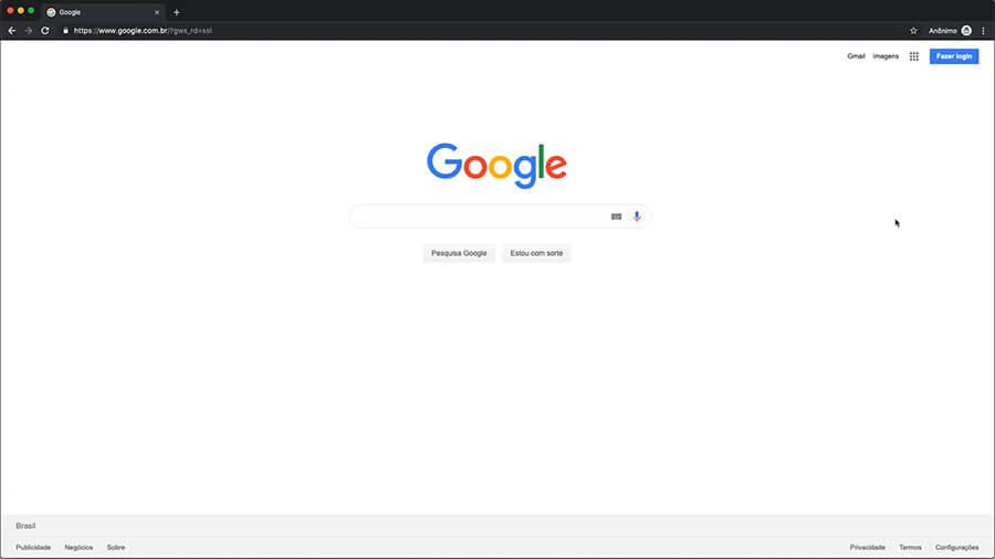 Abra a página inicial do Google