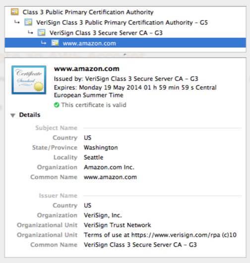Exemplo de certificado da amazon