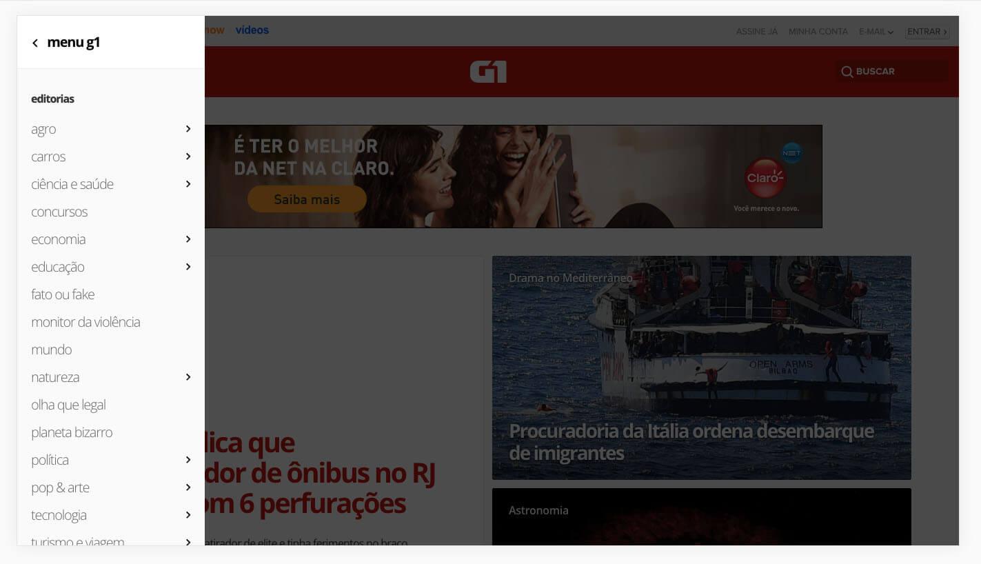 Divisões dentro da área editorial do portal G1
