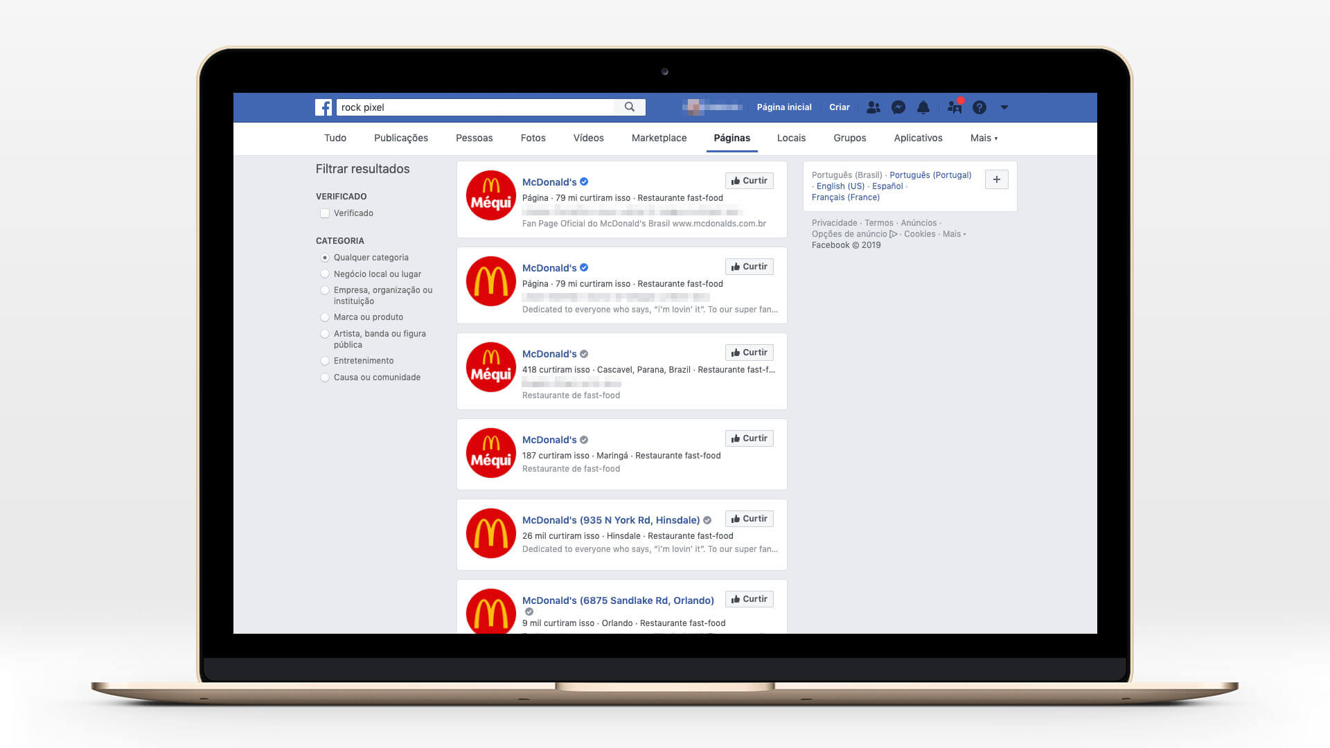 As diferentes páginas do McDonald's que você vai encontrar no Facebook