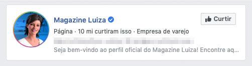 A Magazine Luiza tem seu perfil verificado por ser uma empresa popular