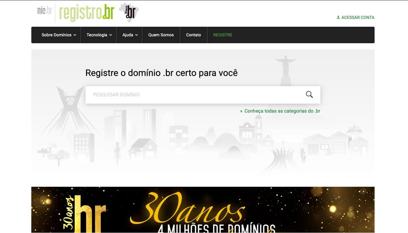Página inicial do site registro.br