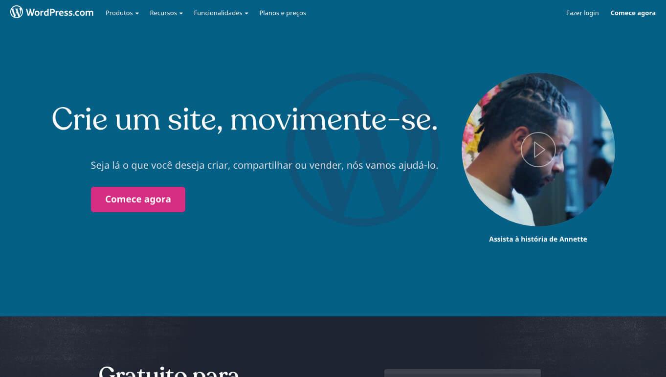Cadastre-se no site do Wordpress, e comece a publicar seu conteúdo