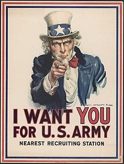 A famosa figura do Tio Sam é uma propaganda do Governo Americano na época da 2ª guerra